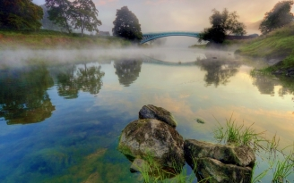 bridge_stones_water_haze_reservoir_morning_freshness_cool_steam_arch_61619_1920x1200