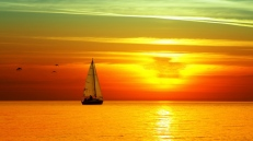 decline_sailing_vessel_birds_orange_sun_lunar_path_sea_horizon_sky_61586_1366x768