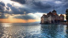 fortress_water_sea_coast_evening_sun_light_45653_1920x1078