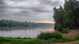 lake_morning_cloudy_trees_coast_nettle_54975_2560x1440
