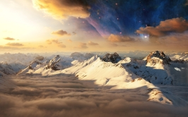 mountains_snow_tops_stars_morning_sky_dawn_shadows_light_53924_1920x1200