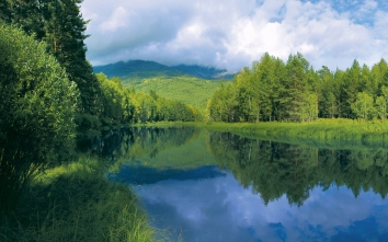 river_smooth_surface_trees_hills_water_57381_2560x1600