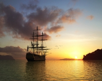 sun_rising_morning_ship_sea_birds_7027_1280x1024