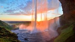 waterfall_lake_summer_sunset_grass_92509_1366x768