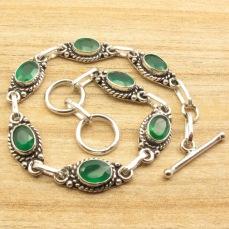 Genuine-Oval-GREEN-ONYX-LINK-BRACELET-7-7-8-Inches-Silver-Plated-Tribal-Jewelry.jpg_640x640