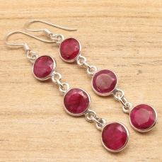 Silver-Plated-Party-Wear-Jewellery-Red-rubi-3-Gems-WOMEN-S-Long-Earrings.jpg_640x640