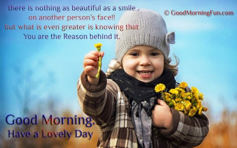 Flower-offering-cute-baby-girl-Be-the-reason-for-some-one-smile-good-morning-quote